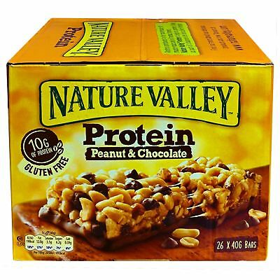 Nature Valley Protein Peanut & Chocolate 26 x 40g Bars Healthy High Fibre Snack