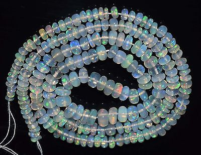 """17"""" Stunning Natural Ethiopian Welo Fire Opal Smooth Rondelle Beads EB1536"""