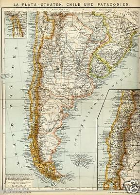 1897= CILE ARGENTINA PATAGONIA = Antica Mappa = OLD MAP