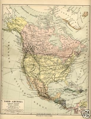 1898= NORD AMERICA = Antica Mappa= OLD MAP