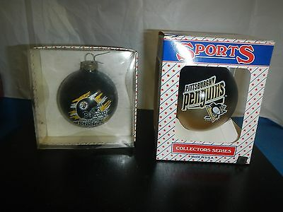 2 pcs Pittsburgh Steelers & Penguin Glass Ornaments Sports Collector Series