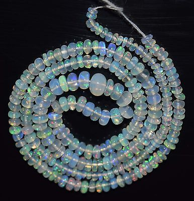 """16.5"""" Stunning Natural Ethiopian Welo Fire Opal Smooth Rondelle Beads EB1541"""
