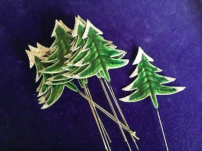 "Vtg Millinery Flower Christmas Tree 3"" Green Lot 12pc Glossy w/ Mica Glitter Y92"