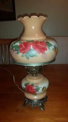 Vintage Hand-painted  Gone With The Wind Hurricane Lamp ROSES & FLOWERS