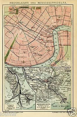 1899= NEW ORLEANS = Antica Mappa Topografica= OLD MAP