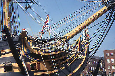 35mm SLIDES :  MARITIME : H.M.S. VICTORY IN CLOSE_UP & NAVY DAY RECREATION 1998
