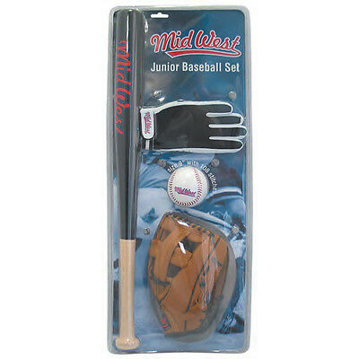 Midwest Junior Baseball Set Bat Baseball Glove Soft Ball & Batting Glove rrp£31