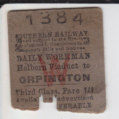 Holborn Viaduct to Orpington - Southern Railway Daily Workman - dated 1946