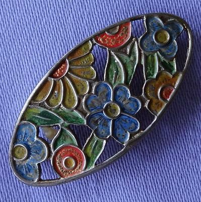 Vintage Small Oval Multi-Coloured Enamel Floral Brooch