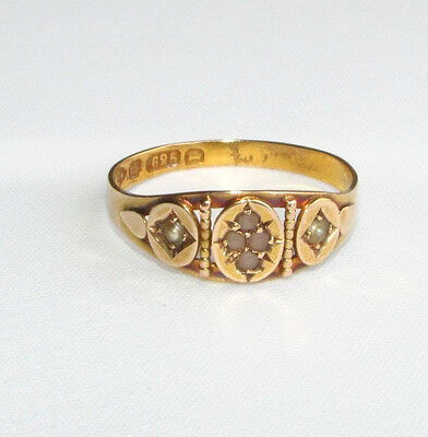 Old antique Victorian seed pearl & coral 15ct gold ring size O 1/2 Chester 1880