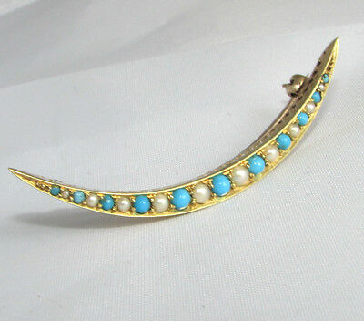 Old antique Edwardian 15ct gold seed pearl & turquoise crescent brooch