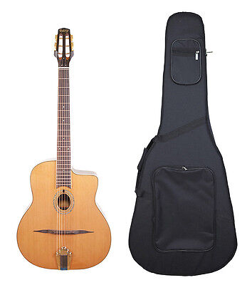 Samois by Quincy Gypsy Jazz Shape Acoustic Guitar & HARD CASE oval hole SOLID UK