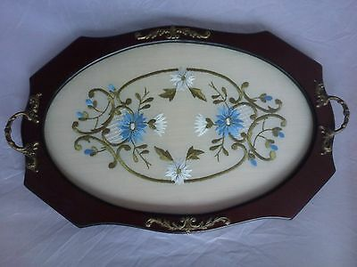 Victorian Mahogany Tea Drinks Tray & Hand Embroidered Panel - Filigree Handles