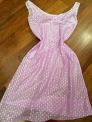 Vintage 60s Cute Lacy Sheer Lilac Slip Underskirt Sissy Glamour Lingerie 12/14