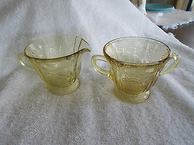 Vintage Yellow Depression Glass Sugar and Creamer Florentine? Hazel Atlas?