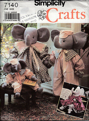 Simplicity Crafts Sewing Pattern  #7140  Elephant Dolls With Clothes