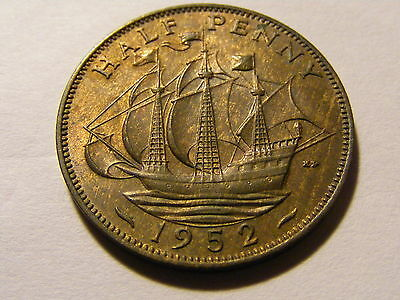 1952 George VI Half Penny Coin  - Much Lustre