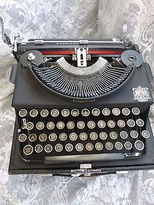 Vintage portable typewriter in carry case made by Imperial  British Made