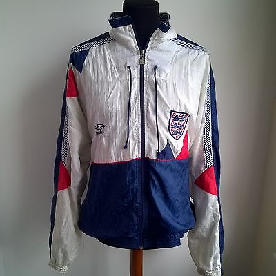 England 1990 Track Top Shell Jacket Umbro Football Shirt Jersey Size Adult Xl