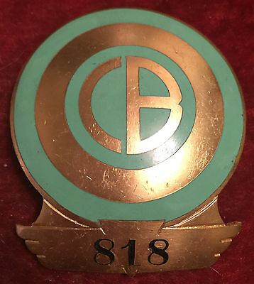 CBO Railroad Hat Badge Gold with Green Enamel, Nice!