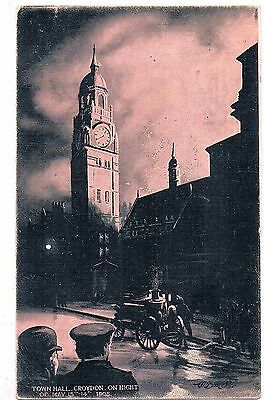 ARTISTS IMPRESSION OF THE CROYDON TOWN HALL FIRE, MAY 13 & 14th, 1905