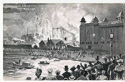 Nottinghamshire - Ppc - The Fire At The Midlands Exhibition, Nottingham, 1904