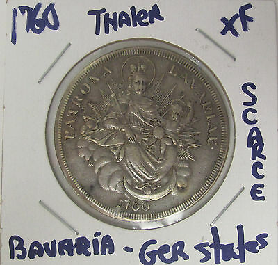 GERMANY STATES -BAVARIA 1760 1 Thaler Silver Crown SUPER NICE COIN RARE XF C040
