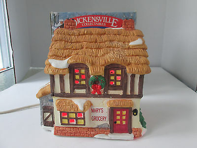 1994 Noma Dickensville Porcelain Lighted Christmas Village House Mary's Grocery