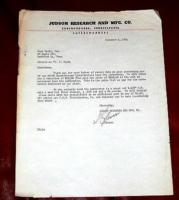 1954 JUDSON SUPERCHARGER - Original Factory Letter - MG-26 Supercharger