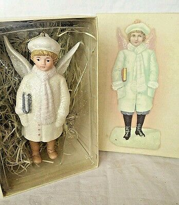 """Porcelain Angel Boy Christmas Tree Ornament 5 1/2"""" Costco Store MINT IN BOX"""