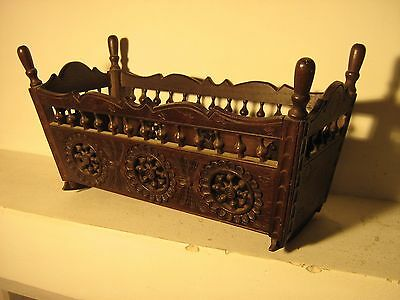 Antique French Rocking Bed Oak Wood Doll Furniture Brittany 2