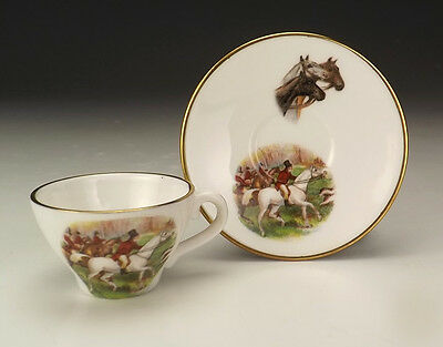 Vintage Caverswall Porcelain - Fox Hunting - Miniature Cabinet Cup & Saucer
