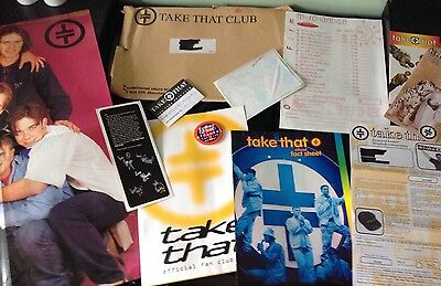 Take That TT Official Fan Club Pack - Poster Badge Fact file Etc