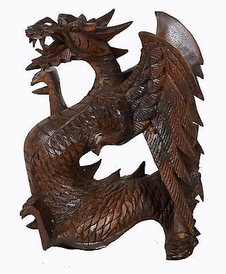 "7"" Large Heavy Hand Carved Wooden Dragon Statue Sculpture Figurine Art Decor"