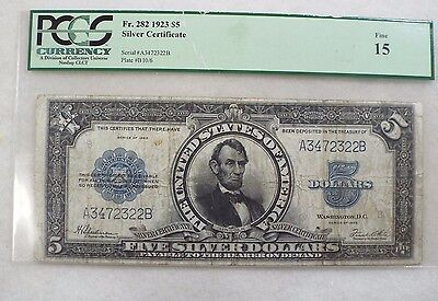 "Series 1923 Large Size $5 ""Porthole"" Silver Certificate Note PCGS FINE 15 Fr#282"