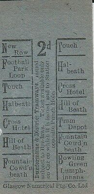 Bell Punch Ticket - Dunfermline & District Tramways. 2d value. 1 ticket.