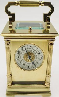 Superb Antique 19thc French Brass & 5 Glass Striking Repeater Carriage Clock