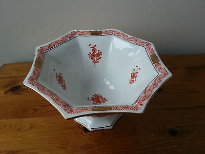 Herend Chinese Bouquet Rust Red Octagagonal Footed Dish / Bowl