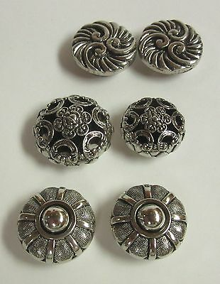 Lot of 6 Lovely Vintage Silver Tone Button Covers, Nice Accessories!