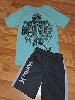 Hurley Boys Athletic Shorts And Octopus Pirate Tee Shirt Size Small 7 8 Years