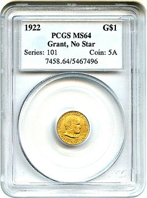 1922 Grant without Star G$1 PCGS MS64 - Popular Gold Commemorative Issue
