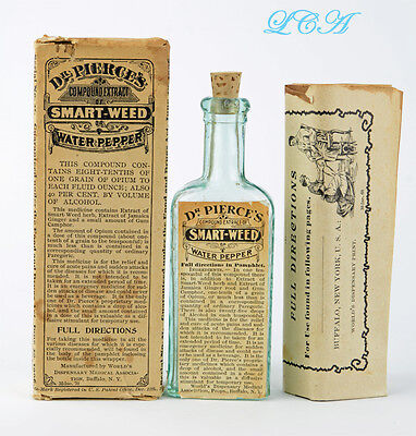 Antique SMART WEED - WATER PEPPER bottle w/ OPIUM Labeled Embossed in BOX = WOW!
