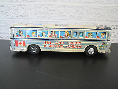 RARE VINTAGE EARLY 1960's TIN TRAVEL CANADA BUS FRICTION TOY SCENIC CRUISER