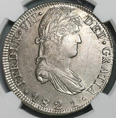 1821-Zs NGC AU 55 War of Independence MEXICO Silver 8 reales Coin (16102102D)