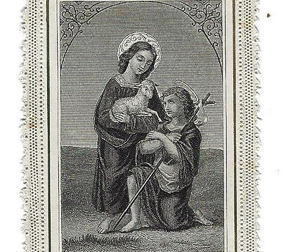 Lamb of God, takes away the sin of world. Old HOLY CARD print SERZ Lace 19th c.