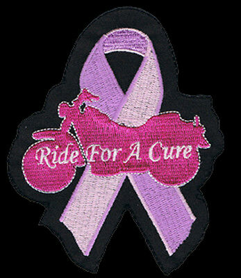 BREAST CANCER RIBBON  EMBROIDERED 4 inch BIKER PATCH