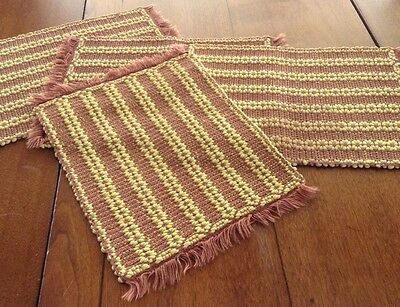 4 Funky Handwoven Placemats, Yellow/Milk Chocolate, Jacquard Pattern