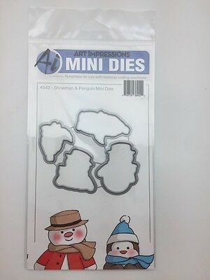 Art Impressions Snowman And Penguin Mini Front and Backs Dies