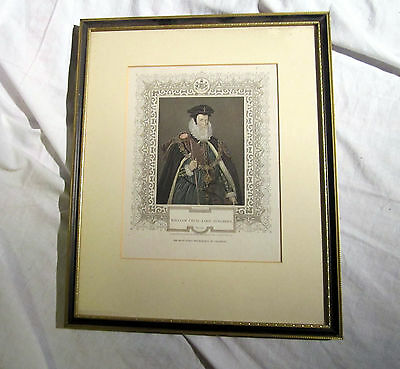 An Antique Framed Engraving Of William Cecil Lord Burghley O.b. 1598
