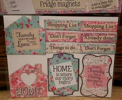 Pretty Ditsy Floral Set Of 10 Shabby Chic Home Memo Fridge Magnets
